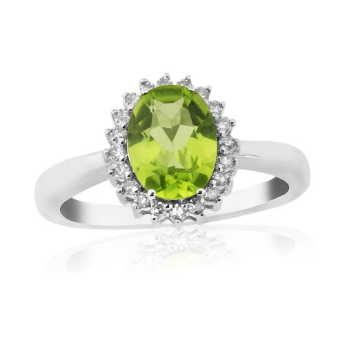 Oval Peridot White Gold Cluster Ring